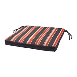 EKERÖN chair cushion, outdoor, stripe, black Width: 50 cm Depth: 50 cm Thickness: 5 cm