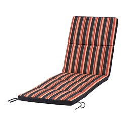 EKERÖN sun lounger cushion, stripe, black Length: 190 cm Width: 60 cm Thickness: 5.0 cm
