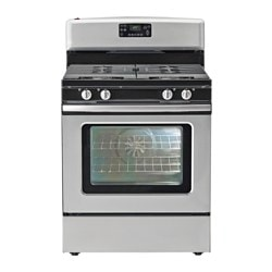 BETRODD, Range with gas cooktop, Stainless steel
