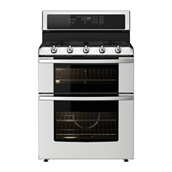 BETRODD, Range w/double oven and gas cooktop, Stainless steel