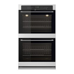"NUTID double oven, Stainless steel Width: 30 "" Depth: 26 3/8 "" Height: 51 1/2 "" Width: 76.2 cm Depth: 67.0 cm Height: 130.7 cm"