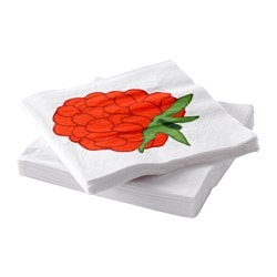 SOMMAR 2015 paper napkin, raspberry pattern Length: 33 cm Width: 33 cm Package quantity: 30 pack