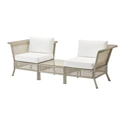 KUNGSHOLMEN /  KUNGSÖ corner easy chairs w table, outdoor, white, light grey Width: 222 cm Depth: 80 cm Seat height: 43 cm