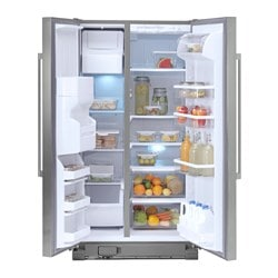 "NUTID S25 side-by-side refrigerator, Stainless steel Width: 35 5/8 "" Depth: 31 7/8 "" Height: 68 3/4 "" Width: 90.5 cm Depth: 81.0 cm Height: 174.5 cm"