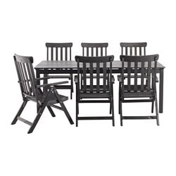 ÄNGSÖ table + 6 reclining chairs, outdoor, black stained black-brown stained