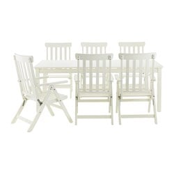 ÄNGSÖ table+6 reclining chairs, outdoor, white stained