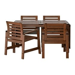 ÄPPLARÖ, Table and 4 armchairs, outdoor, brown stained