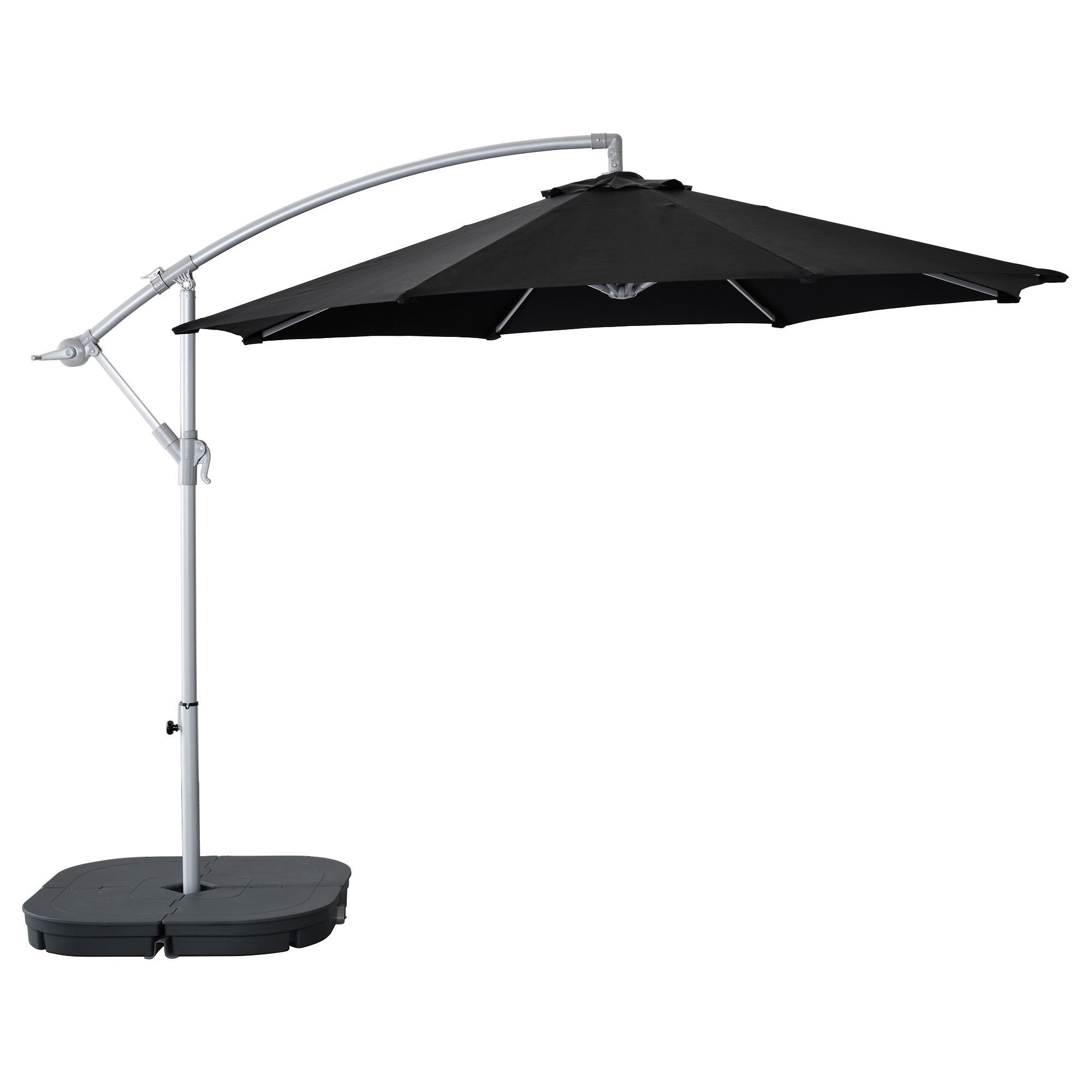 KARLS– SVART– Hanging umbrella with base black dark gray IKEA