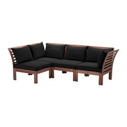 "ÄPPLARÖ /  HÅLLÖ 4-seat sectional, outdoor, brown stained, black Depth: 31 1/2 "" Width right: 87 3/4 "" Width left: 56 1/4 "" Depth: 80 cm Width right: 223 cm Width left: 143 cm"