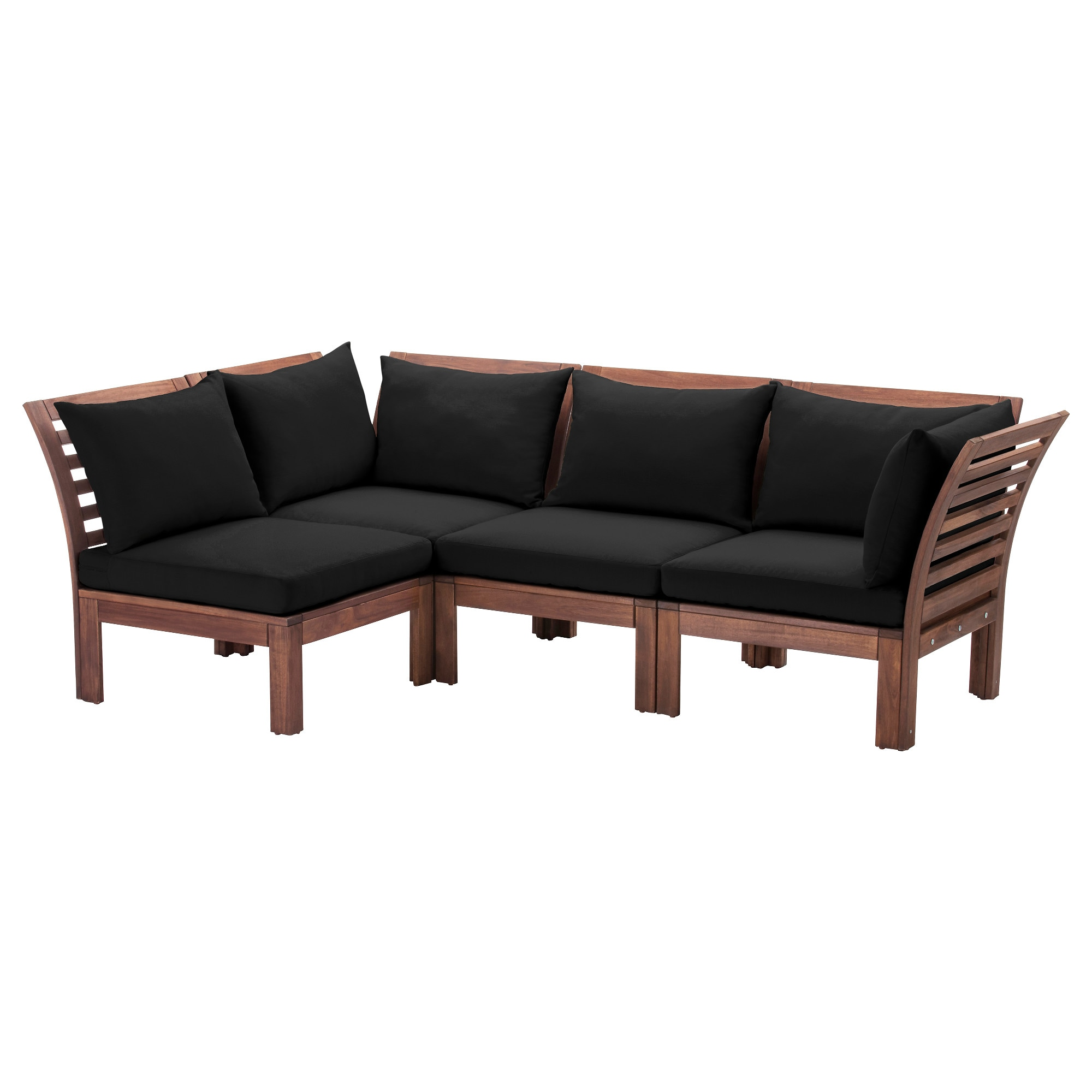 """PPLAR– 4 seat sectional outdoor brown stained black IKEA"