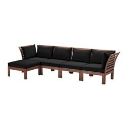 "ÄPPLARÖ /  HÅLLÖ 4-seat sofa with footstool, outdoor, brown stained, black Depth: 31 1/2 "" Width right: 112 5/8 "" Width left: 56 1/4 "" Depth: 80 cm Width right: 286 cm Width left: 143 cm"