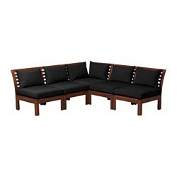 "ÄPPLARÖ /  HÅLLÖ 5-seat sectional, outdoor, brown stained, black Depth: 31 1/2 "" Width right: 81 1/8 "" Width left: 81 1/8 "" Depth: 80 cm Width right: 206 cm Width left: 206 cm"