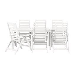 ÄPPLARÖ table+6 reclining chairs, outdoor, white