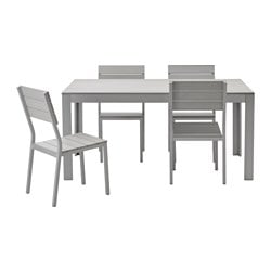 FALSTER table+4 chairs, outdoor, grey