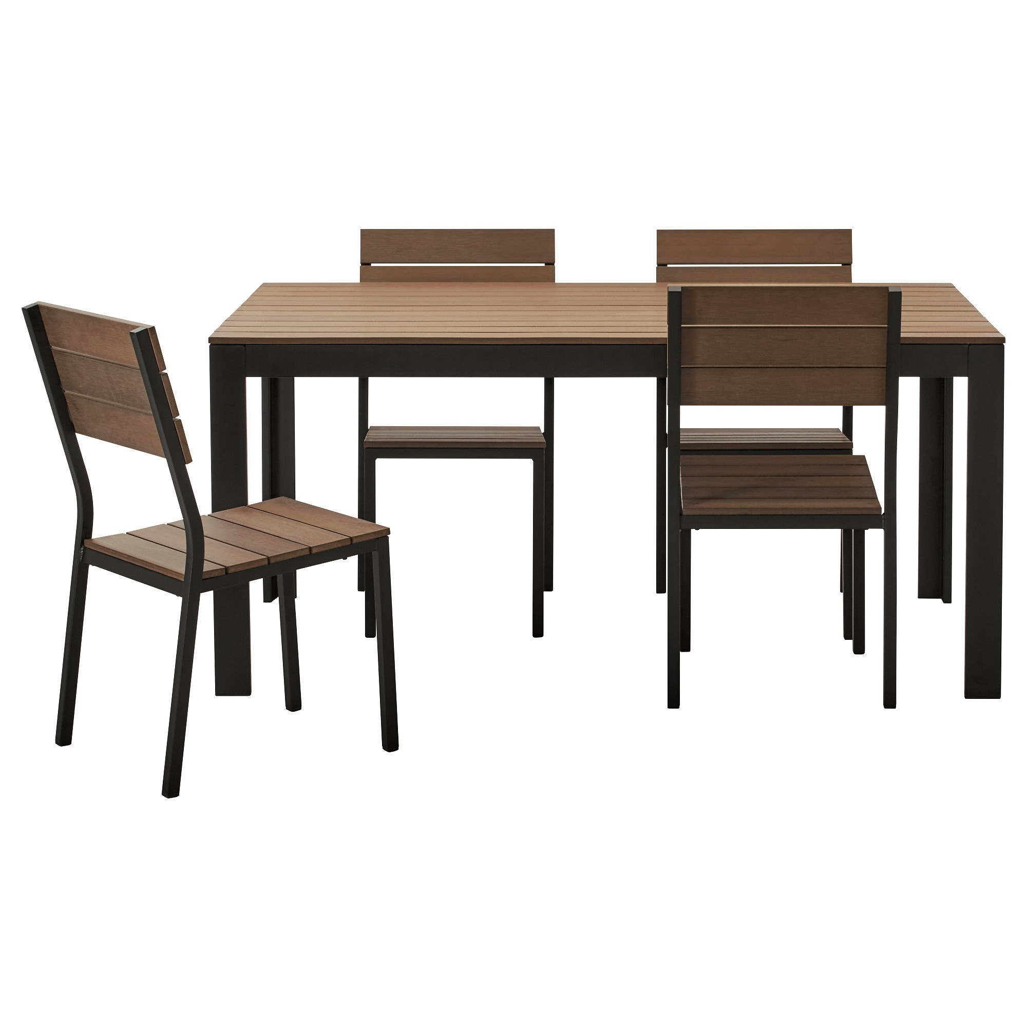Charmant FALSTER Table+4 Chairs, Outdoor, Black, Brown