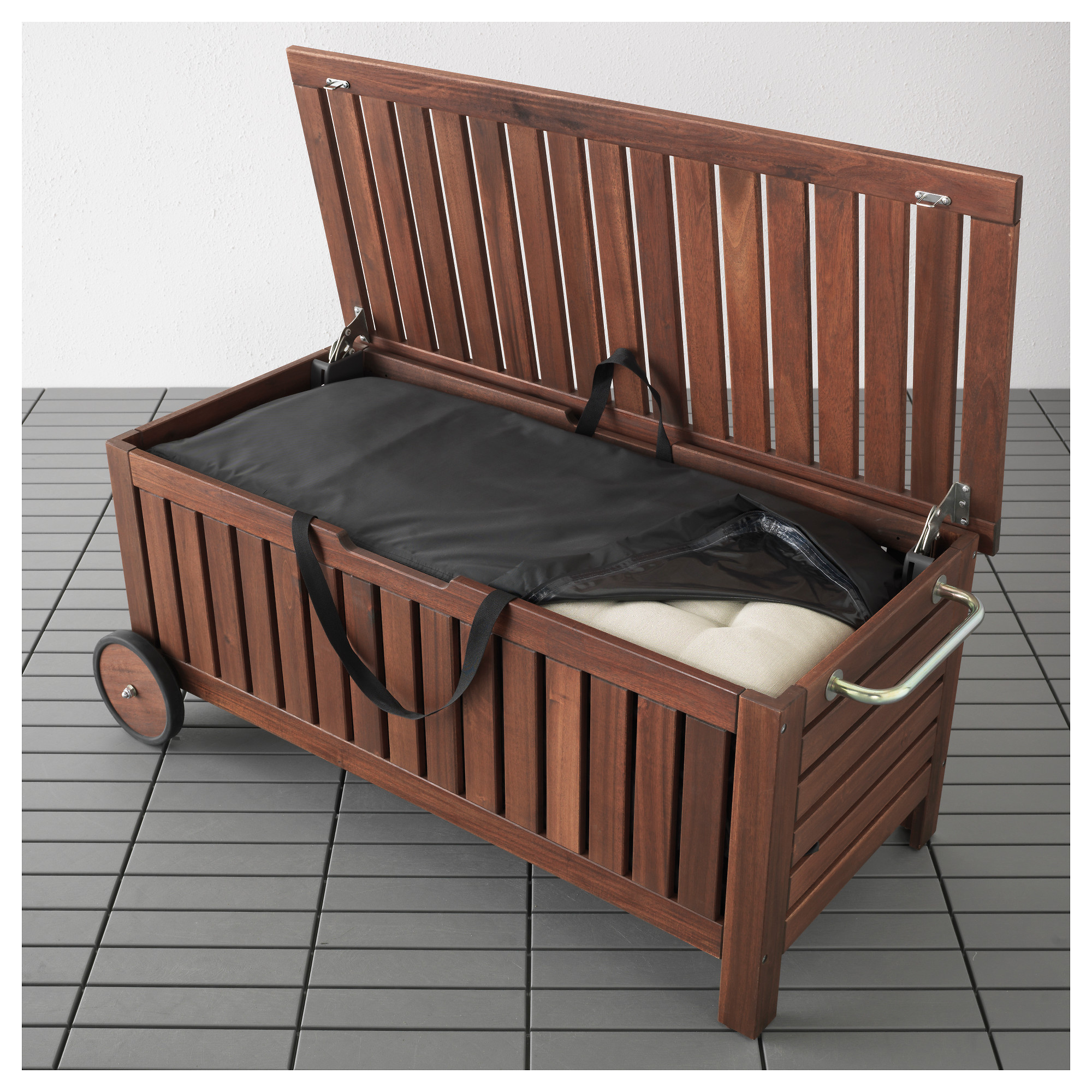 Applaro Tostero Bench With Storage Bag Outdoor Brown Stained Ikea