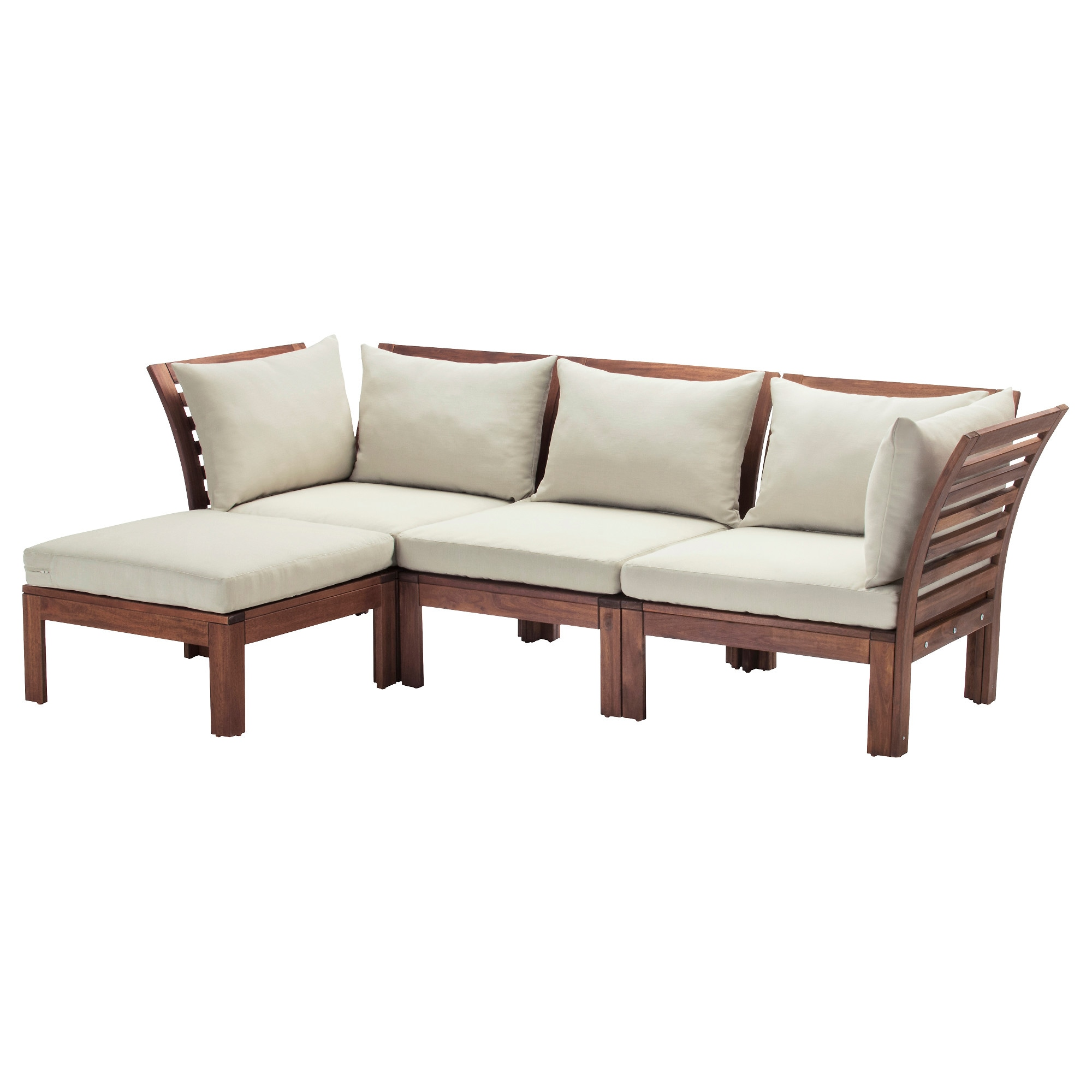 Inflatable furniture ikea -  Pplar H Ll Sofa With Footstool Outdoor Brown Stained Beige Depth 31