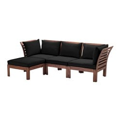 "ÄPPLARÖ /  HÅLLÖ sofa with footstool, outdoor, brown stained, black Depth: 31 1/2 "" Width right: 87 3/4 "" Width left: 56 1/4 "" Depth: 80 cm Width right: 223 cm Width left: 143 cm"