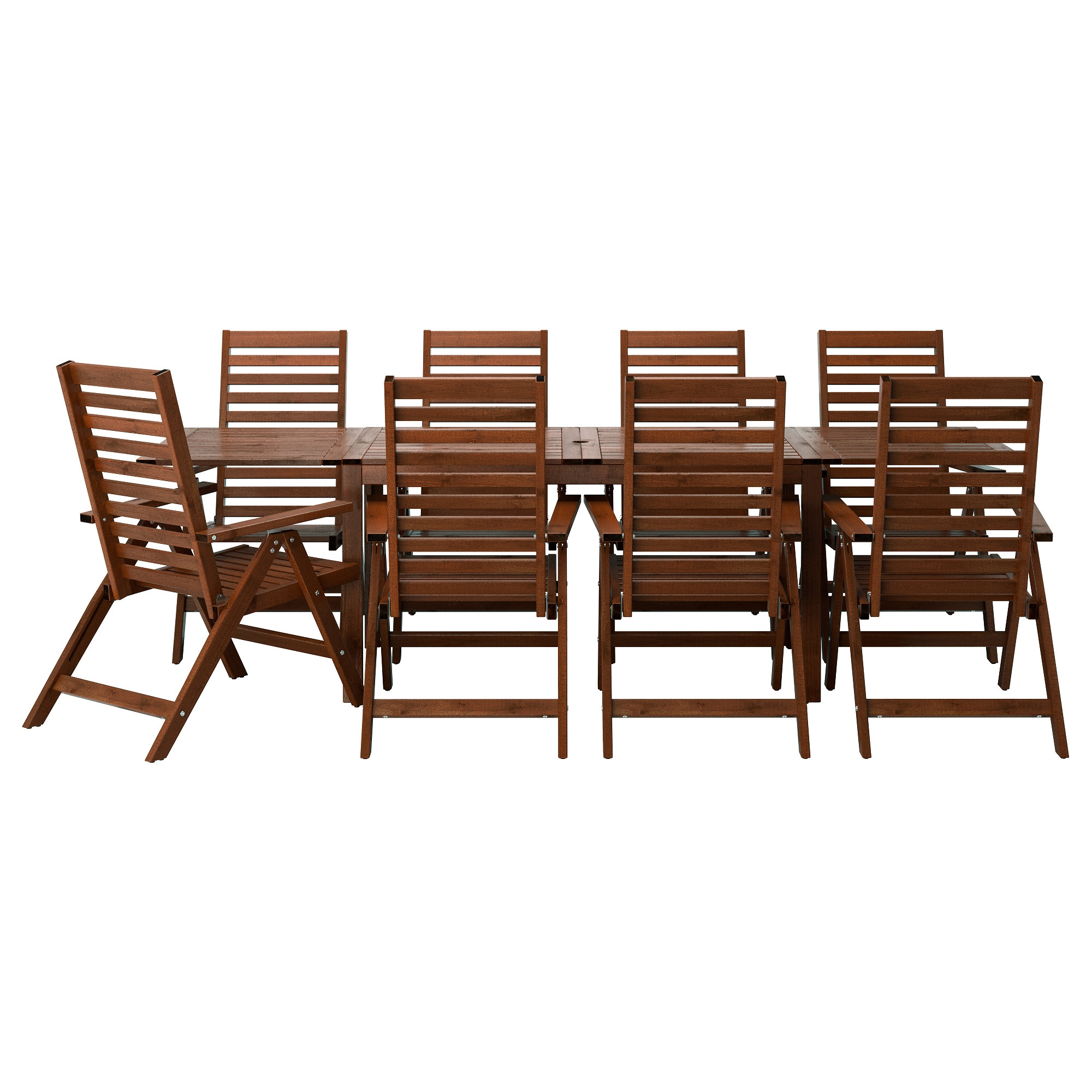 PPLAR  table 8 reclining chairs  outdoor  brown stained. Outdoor dining sets   IKEA