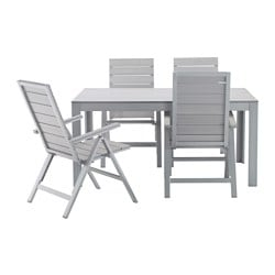 FALSTER table+4 reclining chairs, outdoor, grey