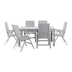 FALSTER table+6 reclining chairs, outdoor, grey