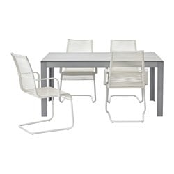 FALSTER /  VÄSMAN table+4 chairs w armrests, outdoor, white, grey