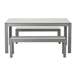 FALSTER table+2 benches, outdoor, grey