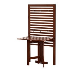 ÄPPLARÖ wall panel+gate-leg table, outdoor, brown stained Width: 80 cm Depth: 62 cm Height: 158 cm
