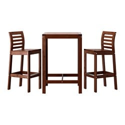 ÄPPLARÖ bar table and 2 bar stools, brown brown stained