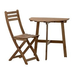 ASKHOLMEN, Wall table & folding chair, outdoor, gray-brown stained