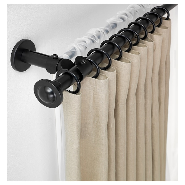 Storslagen Double Curtain Rod Set Black Ikea