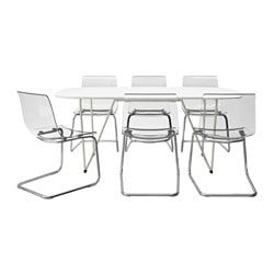 OPPEBY/ BACKARYD /  TOBIAS table and 6 chairs, chrome-plated transparent, white Length: 185 cm Width: 90 cm Height: 73 cm