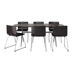 OPPEBY/ OPPMANNA /  BERNHARD table and 6 chairs, Kavat dark brown, dark brown/grey Length: 185 cm Width: 90 cm