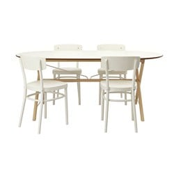 SLÄHULT/ DALSHULT /  IDOLF table and 4 chairs, white, birch Length: 185 cm Width: 90 cm Height: 73 cm