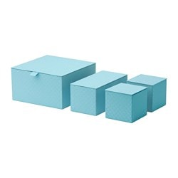 PALLRA box with lid, set of 4, light blue