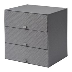 PALLRA mini chest with 3 drawers, dark grey Width: 31 cm Depth: 26 cm Height: 31 cm