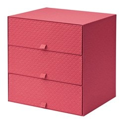 PALLRA mini chest with 3 drawers, red Depth: 26 cm Height: 31 cm Width: 31 cm