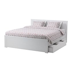 BRUSALI bed frame with 4 storage boxes, Luröy, white Length: 196 cm Width: 150 cm Headboard height: 93 cm