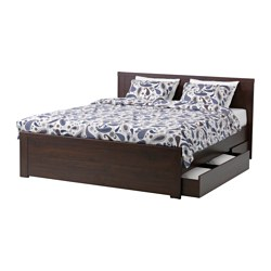 BRUSALI bed frame with 4 storage boxes, Lönset, brown Length: 206 cm Width: 155 cm Footboard height: 46 cm