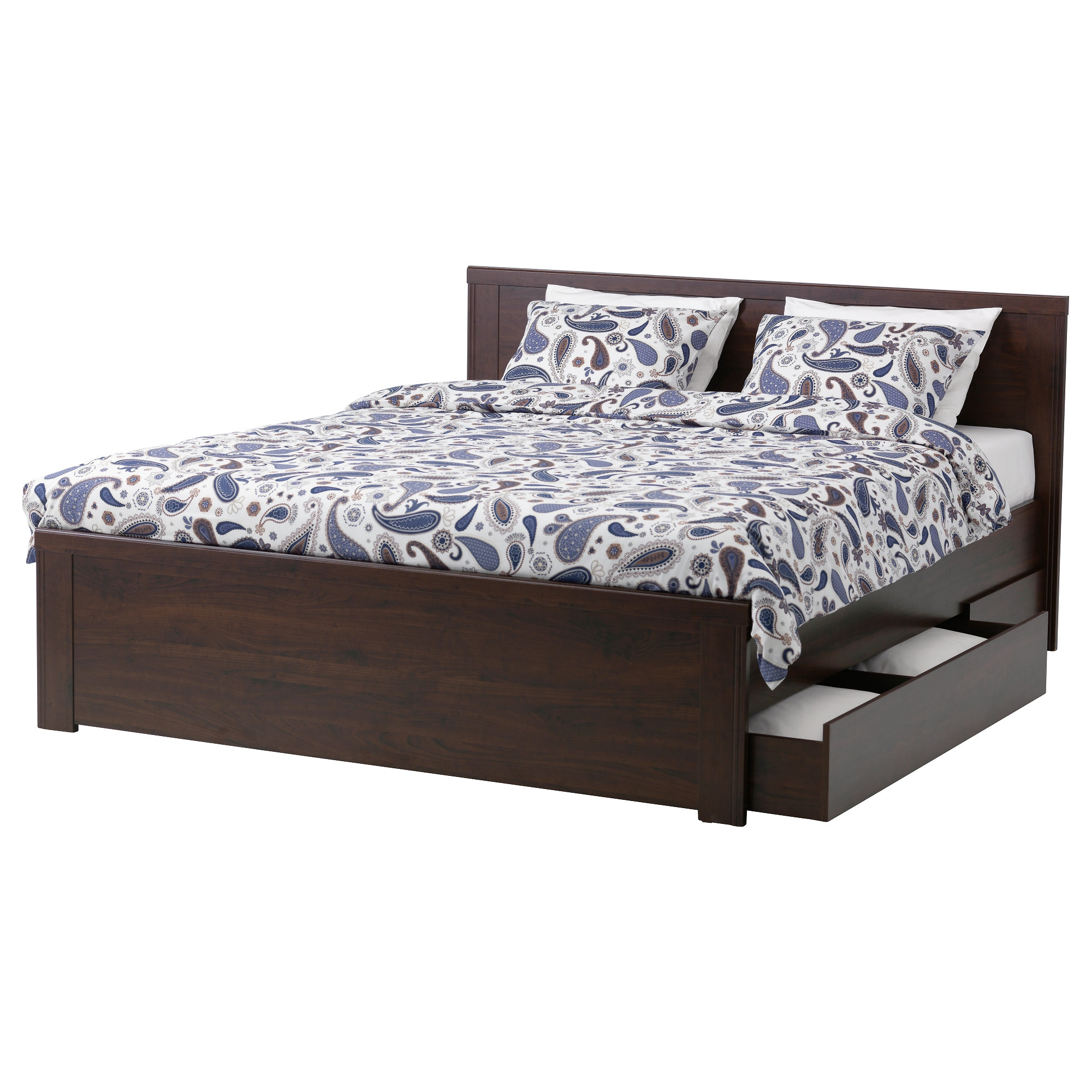Bed frame with storage - Brusali Bed Frame With 2 Storage Boxes Brown Lur Y Length 81 7