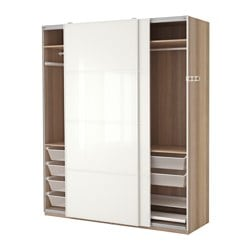 PAX wardrobe, Färvik white glass, white stained oak effect Width: 200 cm Depth: 66 cm Height: 236.4 cm