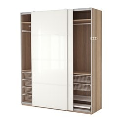 PAX wardrobe, white stained oak effect, Färvik white glass Width: 200 cm Depth: 66 cm Height: 236.4 cm