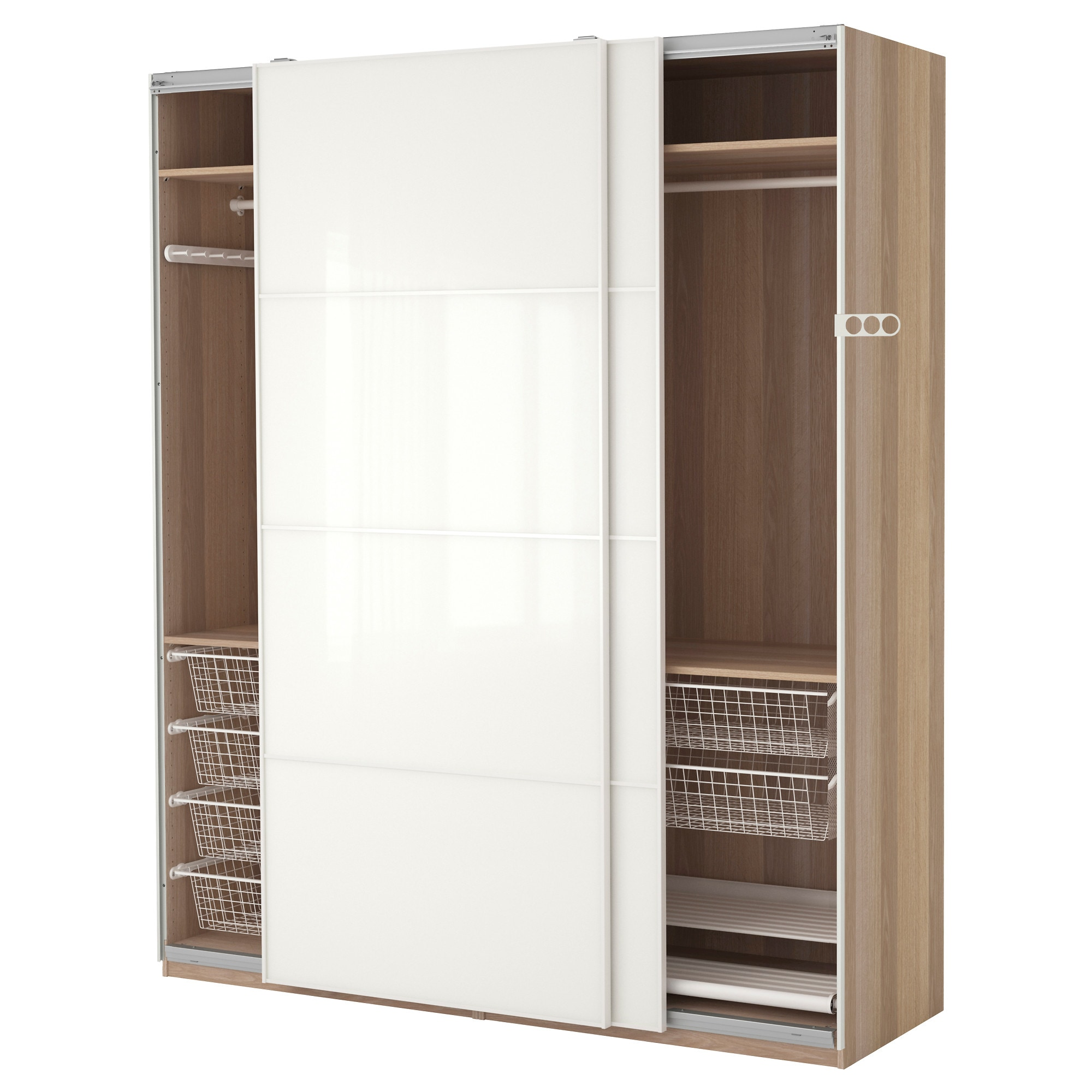 Delightful PAX Wardrobe, White Stained Oak Effect, Färvik White Glass