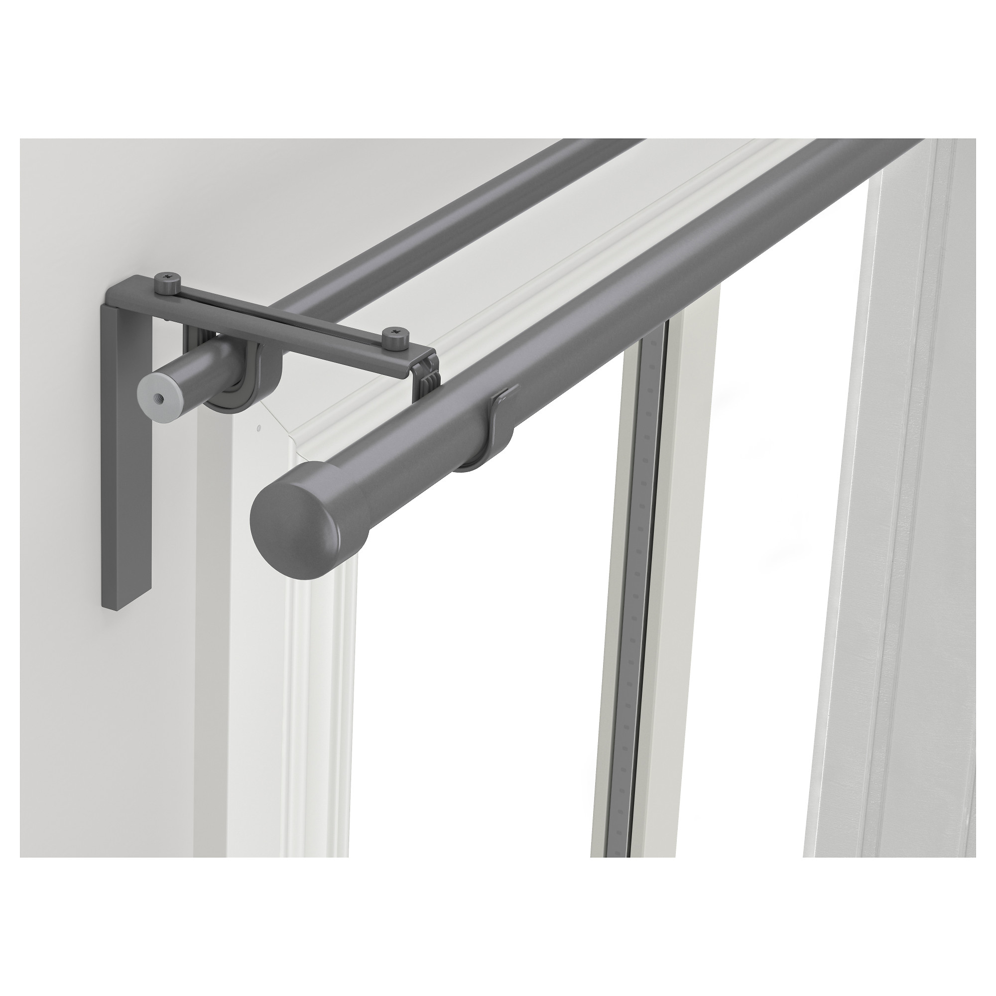 RÄCKA / HUGAD Double Curtain Rod Combination, Silver Color Min. Length: 82 5