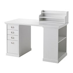 "KLIMPEN desk with storage, white Length: 47 1/4 "" Width: 23 5/8 "" Height: 28 3/4 "" Length: 120 cm Width: 60 cm Height: 73 cm"