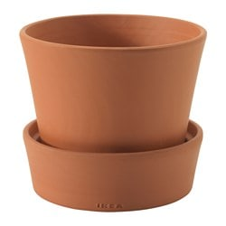 INGEFÄRA plant pot with saucer, in/outdoor outdoor, terracotta