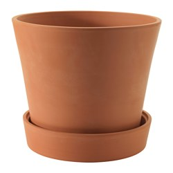 INGEFÄRA plant pot with saucer, outdoor terracotta