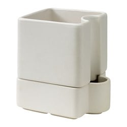 SÖTCITRON self-watering plant pot, white, in/outdoor white Length: 13 cm Width: 11 cm Max. diameter flowerpot: 10.5 cm