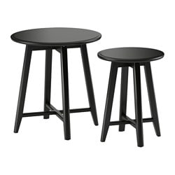 KRAGSTA nesting tables, set of 2, black