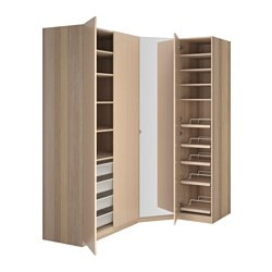 "PAX wardrobe, Nexus Vikedal, white stained oak effect Depth: 23 5/8 "" Width right: 57 1/2 "" Width left: 77 1/8 "" Depth: 60 cm Width right: 146 cm Width left: 196 cm"